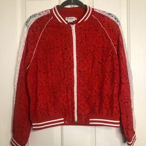 Jackets & Blazers - 🐰 Red & White Lace Bomber Jacket